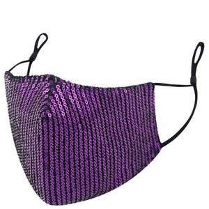 Purple Sequin Face Mask with Adjustable Straps